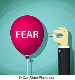 Man bursts a balloon with the word fear. Stock vector illustrati