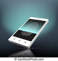 Fingerprint scanning. Stock illustration. - Fingerprint...