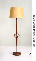 Stylish wooden floor lamp with yellow shade - Stylish wooden...