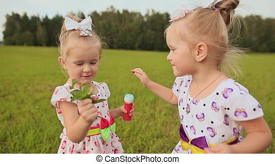 In summer, small twin sisters play in the field. Children give each other bouquets with hugs and kisses.