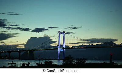 Evening view of the bridge in Vietnam. Danang city. -...