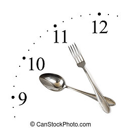 Clock made of spoon and fork isolated on white background