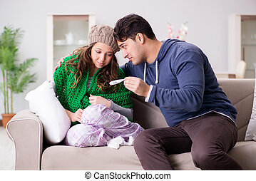 Husband caring for sick wife