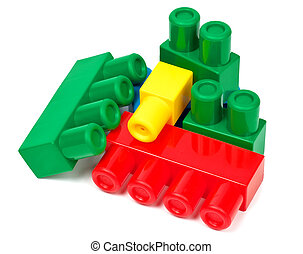 Toy building colorful blocks on white background