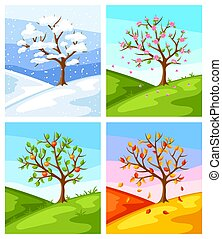 Four seasons. Illustration of tree and landscape in winter, spring, summer, autumn.
