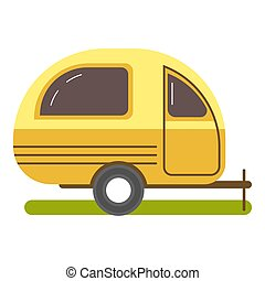 Travel trailer caravanning in yellow color isolated on white...