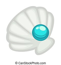 Exquisite shell with blue shine pearl isolated on white