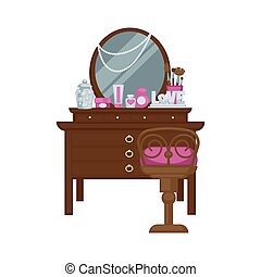 Dressing table with woman accessories and chair vector...
