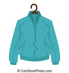 Blue jacket for man or woman on black hanger on white background