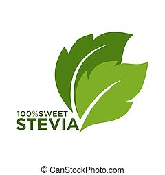 Green symbol of stevia or sweet grass 100 percent logo on...
