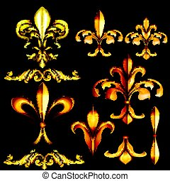 Collection of vector golden swilrs and fleur de lis.eps -...