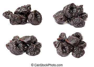 Collection of dried plum - prunes, isolated on a white...