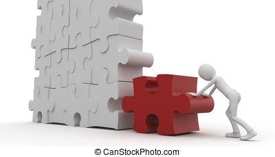 3d man with puzzle isolated on white
