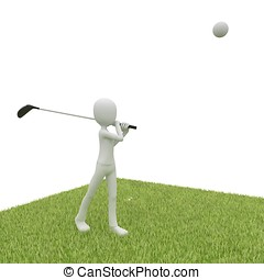 3d man with golf course