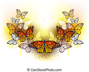 Symmetrical pattern of butterflies monarchs and bright spots...