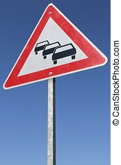 traffic queues likely - German road sign: traffic queues...