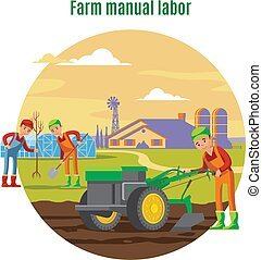Farming And Agricultural Manual Labor Concept - Farming and...
