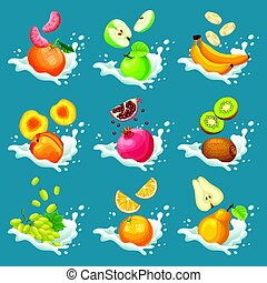 Natural Fruits In Milk Splashes Collection