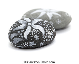 lava pebble painting - lava pebble painted with white paint...
