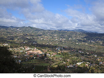 Inland Gran Canaria, April, view into densely populated...