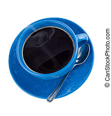 Hot black coffee in cup, isolated on white, top view.