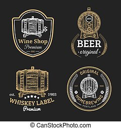 Wooden barrels collection for alcohol drinks icons or signs. Hand sketched kegs emblems.Whiskey,beer,wine logotypes set.