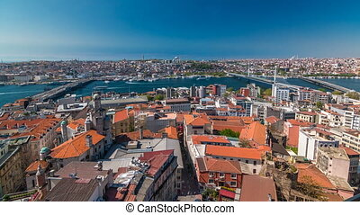 The view from Galata Tower to Galata Bridge timelapse Golden...