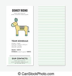 Donkey riding vertical banner - Donkey riding vector...