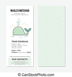 Whale watching banner - Whale watching vector vertical...