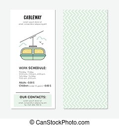 Cable car vertical banner - Cable car vector vertical banner...
