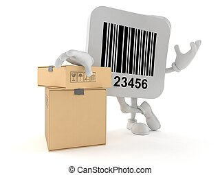 Barcode character with stack of boxes
