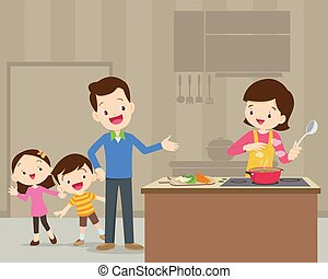 happy cute family cooking