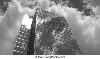 Skyscraper timelapse B and W - Timelapse shot of a downtown...
