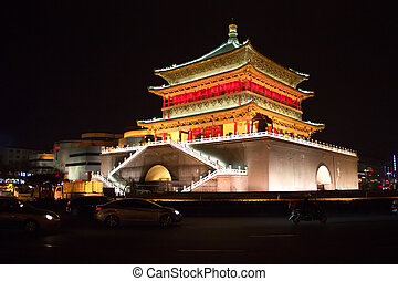 Bell Tower at night, Xian, China