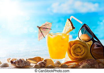Summer drink on the beach - Summer concept: fresh exotic...