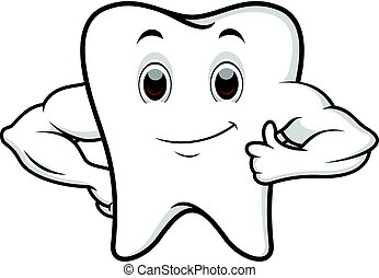 Strong tooth cartoon - illustration of Strong tooth cartoon