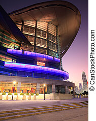Convention and Exhibition Centre at sunset time. Hong Kong