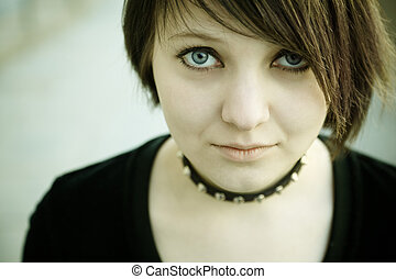 gothic girl - emo or goth young woman, natural soft...