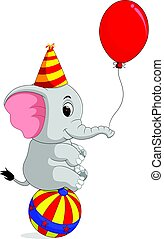 Cute Circus elephant with a striped ball stands on a ball -...