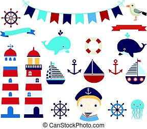 Nautical vector design elements with boats, helms and...