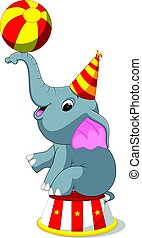 Cute Circus elephant with a striped ball stands on a podium...