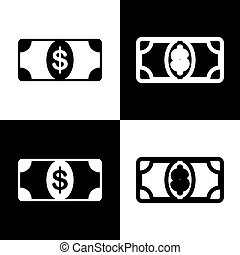 Bank Note dollar sign. Vector. Black and white icons and line icon on chess board.