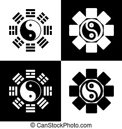 Yin and yang sign with bagua arrangement. Vector. Black and...