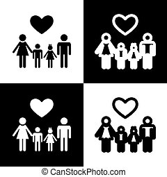 Family symbol with heart. Husband and wife are kept children's hands. Vector. Black and white icons and line icon on chess board.