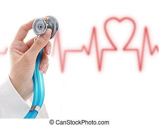 Cardiologist - Collage Medical concept over white background...