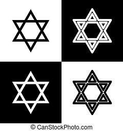 Shield Magen David Star. Symbol of Israel. Vector. Black and...