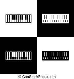 Piano Keyboard sign. Vector. Black and white icons and line icon on chess board.