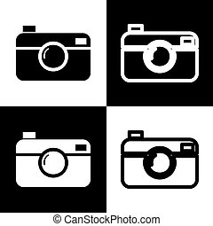 Digital photo camera sign. Vector. Black and white icons and...