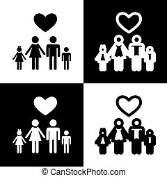 Family symbol with heart. Husband and wife are kept children's hands. Love. Vector. Black and white icons and line icon on chess board.