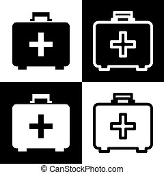 Medical First aid box sign. Vector. Black and white icons and line icon on chess board.